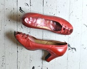 1940s shoes / red shoes / Peeptoe Russian Red heels