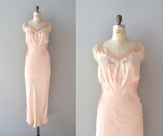 vintage 1930s lingerie / 30s nightgown / Quiet Nights gown