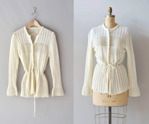 1970s sweater / cream sweater / Drawstring cardigan