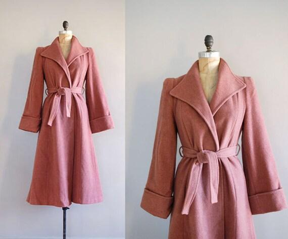 princess coat / belted wool coat / Rose Dust Wool Coat