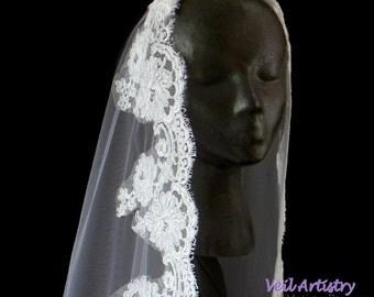 Mantilla Wedding Veil, Mantilla, Alencon Lace Veil, Mantilla Bridal Veil, Fingertip Veil, Ballet Veil, Waltz Veil, Handmade Veil