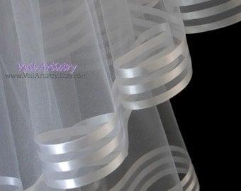Short Wedding Veil, Radiance Veil, Fingertip Veil, White Veil, 2-Tier Veil, Stripe Ribbon Edge Veil, Made-to-Order Veil, Bespoke Veil