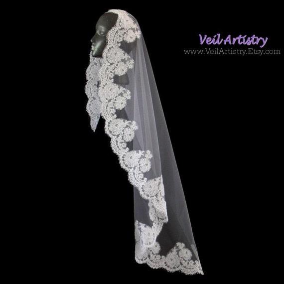 Bridal Veil, Mantilla, Alencon Lace Edge Veil, Mantilla Veil, Fingertip Veil, Ballet Veil, Waltz Veil, Made-to-Order Veil, Handmade Veil