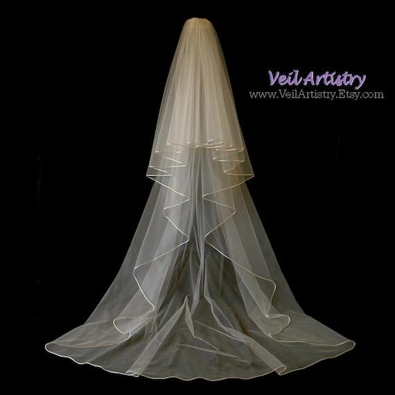 veil radiance veil 2 tier veil satin cord edge veil champagne veil