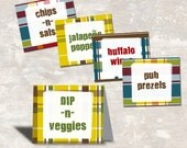 PRINT & SHIP Plaid Flannel Beer Tasting Birthday Party Food Labels (set of 8) >> personalized and shipped to you <<
