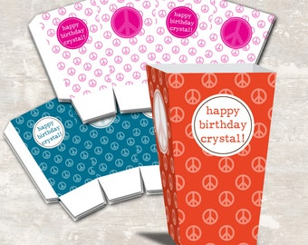 PRINT & SHIP Peace Love and Party Birthday Mini Popcorn Boxes (set of 12) >> personalized and shipped to you   Paper and Cake