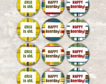 PRINT & SHIP Plaid Flannel Beer Tasting Birthday Party Cupcake Toppers (set of 12) >> personalized and shipped to you | Paper and Cake