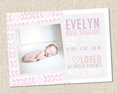 Flower Pattern Custom Printable Baby Girl Birth Announcement Card - EVELYN PINK grey