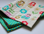 Folkloric Matryoshkas Baby Quilt / Nesting Dolls Baby Bedding with Organic Cotton - Ivory with Teal Green Polka Dots - Home Decor