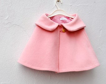 Girls Cape in Pink Wool - Kids Shrug Capelet with Peter Pan Collar - Spring Fashion