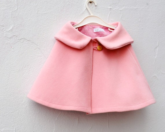 Girls Cape in Pink Wool - Kids Shrug Capelet with Peter Pan Collar Size 3T to 5T - Spring Fashion (Ready to Ship)
