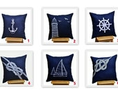 Navy Blue Pillow Covers, Throw Pillow Cover,Set of 2, Navy Blue Linen, White Nautical, Embroidered, Sailing,  CHOOSE THE DESIGN