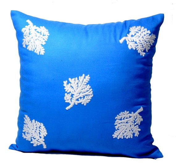 Throw Pillow Covers Nautical : Items similar to Blue Nautical Throw Pillow Covers, Blue Linen with White Coral Embroidery ...