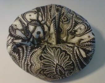 Cell Phone Bean Bag Chair or Kindle Kouch (eReader Rest) Black Taupe and Cream Paisley