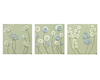 Flower Wall Art - Green and Blue Textured Canvas Set of Three Paintings - Medium 38x12