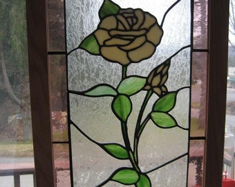 "Stained Glass framed Off-white Rose with six 1"" square bevels."