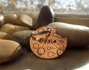 Chocolate Cookie Pet tag complete with a bite,  Cookie tag, pet tag, dog owner gift, personalized pet tag, copper pet tag, whimsical pet tag
