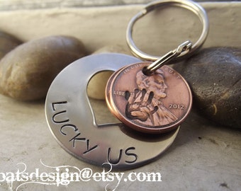 New Lucky Us Open Heart stainless steel Keychain with two lucky pennies, BFF gift, Anniversary gift, Partner gift, Lucky Penny  Keychain