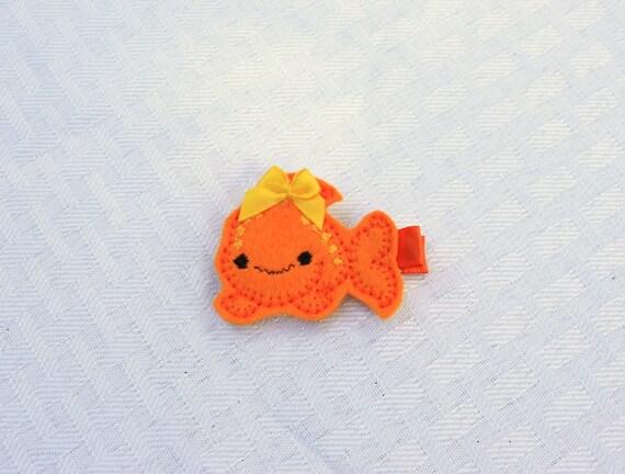 Chelsea the Cheesy Fish Clippie, Orange Goldfish Hair Clip