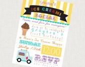 DIY Printable Ice Cream Birthday Party Invitation/ Printable Digital File/ Ice Cream