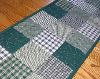 Quilted Table Runner, Dark Green Homespun Patchwork, 13 1/2 x 47 inches