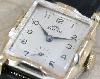 Vintage Solar Wrist Watch - Swiss Made - Mechanical Wind Up Watch - Gents Watch - Mid Century Men's Watch