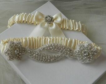 Wedding Garter Set,Crystal Rhinestone garter, Ivory Satin Garter