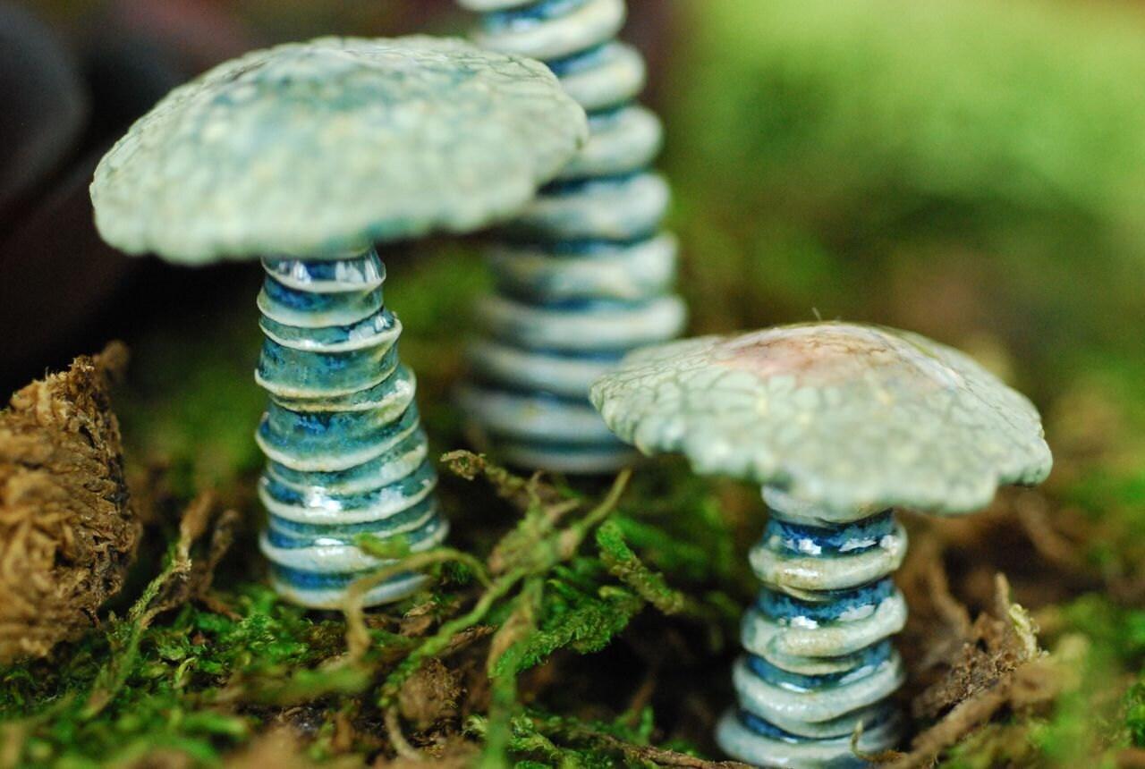 Terrarium Miniature Garden Art Ceramic Mushroom Sculptures For