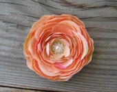 Peach Flower Fascinator Ranunculus Hair Clip Rhinestone Crystal Pearl Floral Brooch Pin Corsage Flower Girl Sash Wedding Bridesmaid