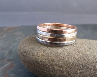 Stacking Rings, Gold and Silver Stacking Rings, Hammered Stacking Bands