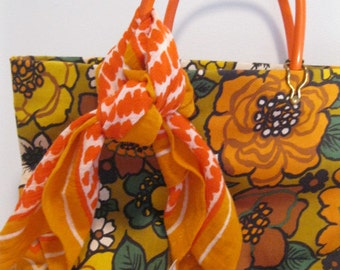 vintage 1960s scarf mod print sixties ORANGE white lot 2