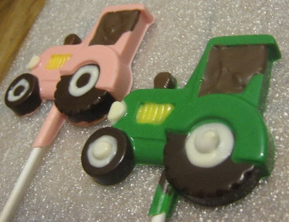 One dozen farm tractor lollipop suckers party favors