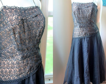 Vintage Dress Gown Nude Illusion Bombshell Lace Cocktail Sheer Party Dress 1950s