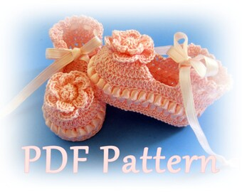 PDF Crochet Pattern- Ribbon & Lace Thread  Baby Booties (3 Different Styles)