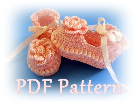Crochet Cotton Baby Booties Pattern : PDF Crochet Pattern Ribbon & Lace Thread Baby Booties 3