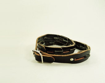 1970s Black Leather Belt Narrow Leather Link 70s Belt