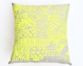 """Boxed In - 18""""x18"""" organic, hand printed neon yellow and grey pillow"""