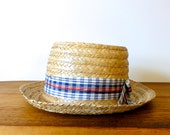 Vintage Straw Hat with ribbon band