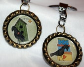 2 Vintage Style Bottlecap Keychains