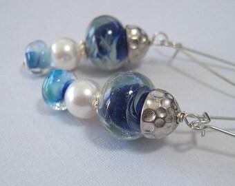 Handmade Lampwork Glass and Swarovski Pearl Earrings - Ocean Blues (E-422)