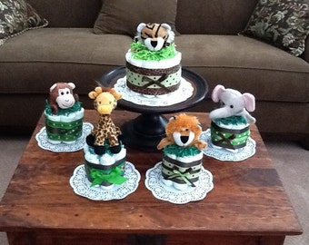 Green and Brown Safari Jungle Plush Diaper Cake Baby Shower Centerpieces  other topers and styles too