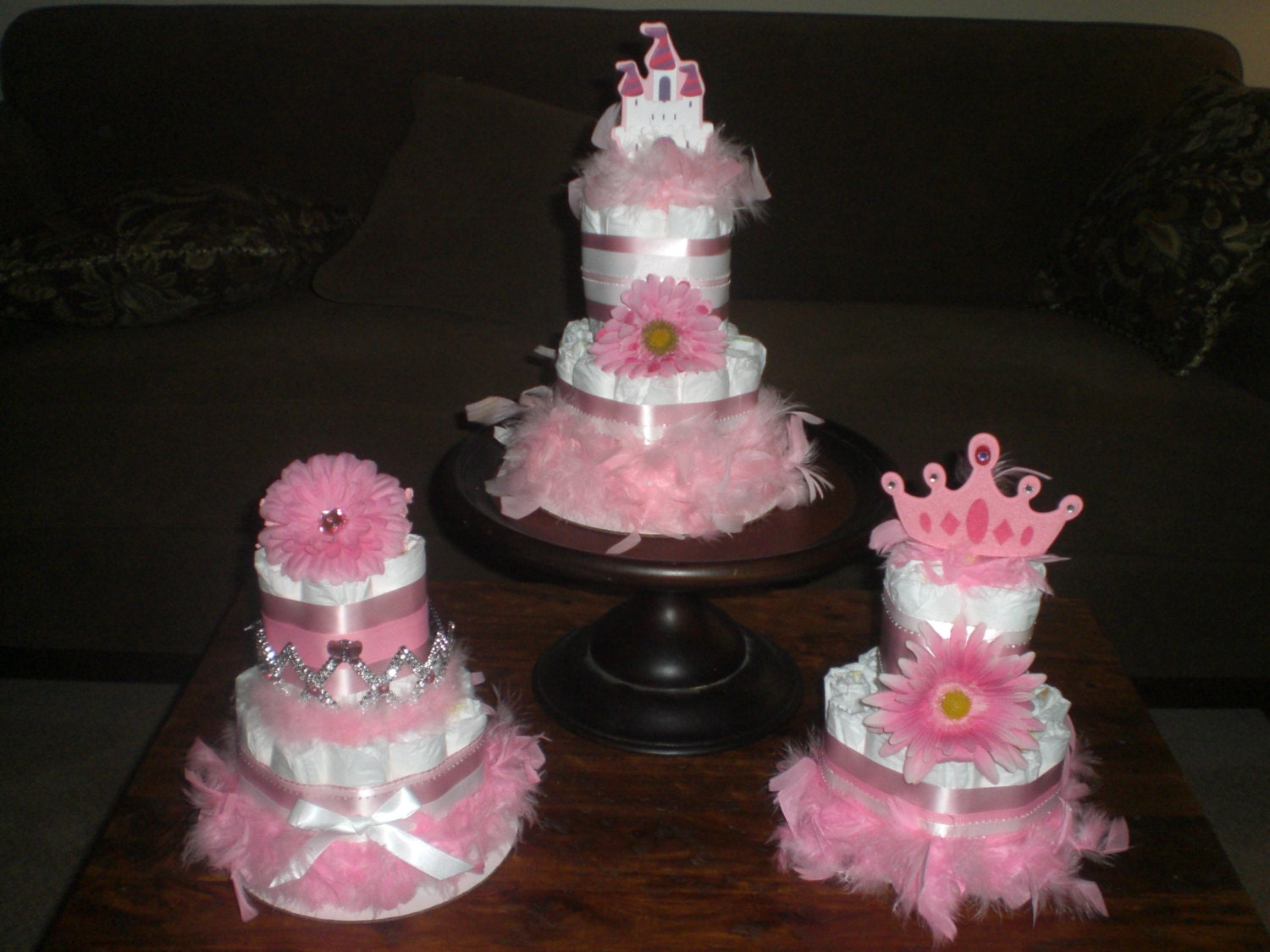 Diaper Cake Centerpiece For Baby Shower : Princess Diaper Cake Baby Shower by bearbottomdiapercakes ...