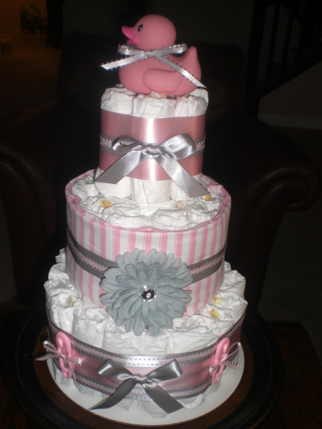 pink and grey diaper cake baby shower centerpiece other