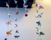 32 Origami Small Swallowtail Butterfly Mobile in Floral Print