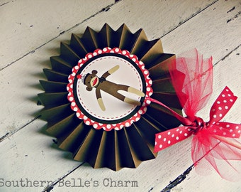 Sock Monkey Centerpiece Pinwheel...Set of 1 Pinwheel
