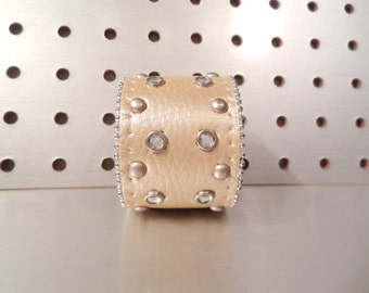 Bedazzled - Jewel Studded Upcycled Synthetic Leather Cuff