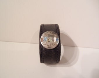 Explorer - Black Worn Genuine Leather Upcycled Cuff