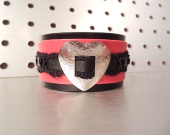 Seductive - Upcycled Black and Red Leather Cuff
