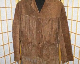 Vintage 60s brown leather fringed suede jacket mens size medium
