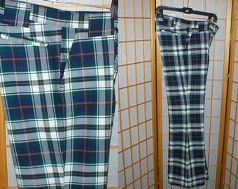 Vintage 70s  plaid bell bottom pants size 31 waist